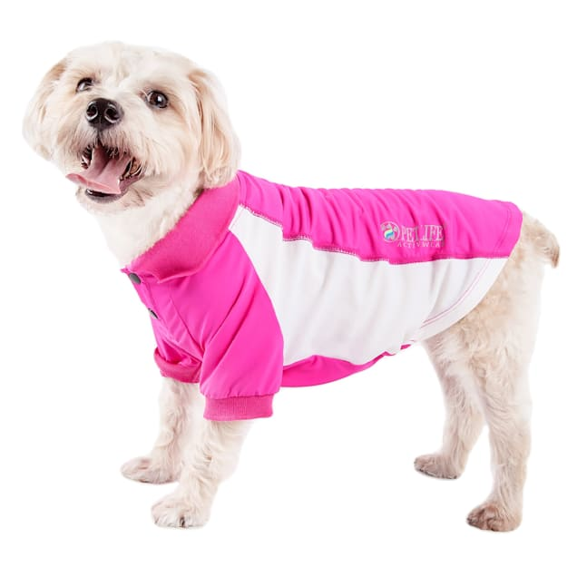 Pet Life Active Barko Pawlo Relax-Stretch Dog Polo Pink T-Shirt, X-Small - Carousel image #1