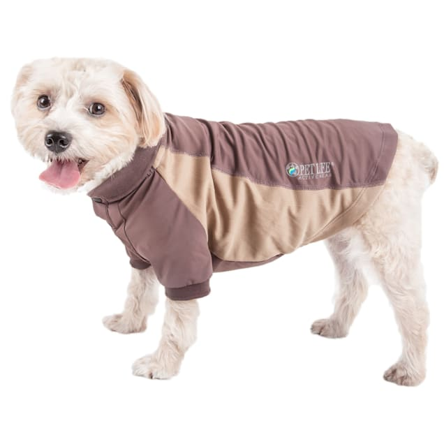 Pet Life Active Barko Pawlo Relax-Stretch Dog Polo Brown T-Shirt, X-Small - Carousel image #1