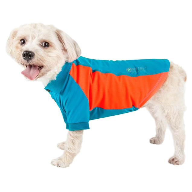 Pet Life Active Barko Pawlo Relax-Stretch Dog Polo Blue T-Shirt, X-Small - Carousel image #1