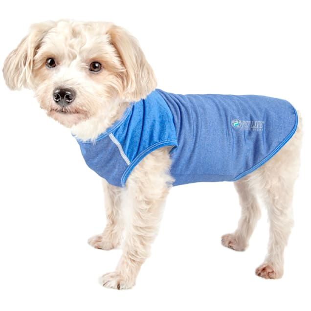 Pet Life Active Aero-Pawlse Heathered Blue Quick-Dry Dog Tank Top T-Shirt, Large - Carousel image #1