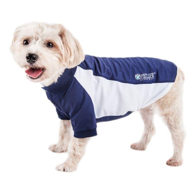 Pet Life Active Barko Pawlo Relax-Stretch Dog Polo Navy T-Shirt, X-Small - Carousel image #1