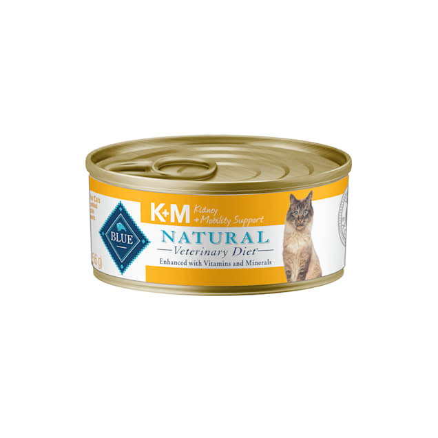 Blue Buffalo Natural Veterinary Diet KM Kidney + Mobility Support Canned Wet Cat Food, 5.5 oz., Case of 24 - Carousel image #1