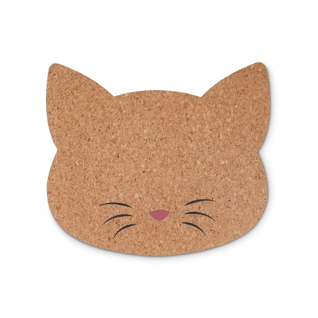 """Harmony Cat-Shaped Cork Placemat for Cats, 17.75"""" L X 15.5"""" W - Carousel image #1"""