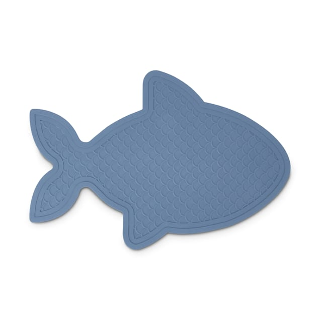 """Harmony Fish-Shaped Rubber Blue Placemat for Cats, 20"""" L X 13.75"""" W - Carousel image #1"""