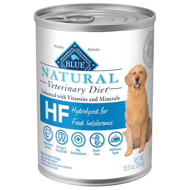 Blue Buffalo Natural Veterinary Diet HF Hydrolyzed for Food Intolerance Salmon Wet Dog Food, 12.5 oz., Case of 12 - Carousel image #1