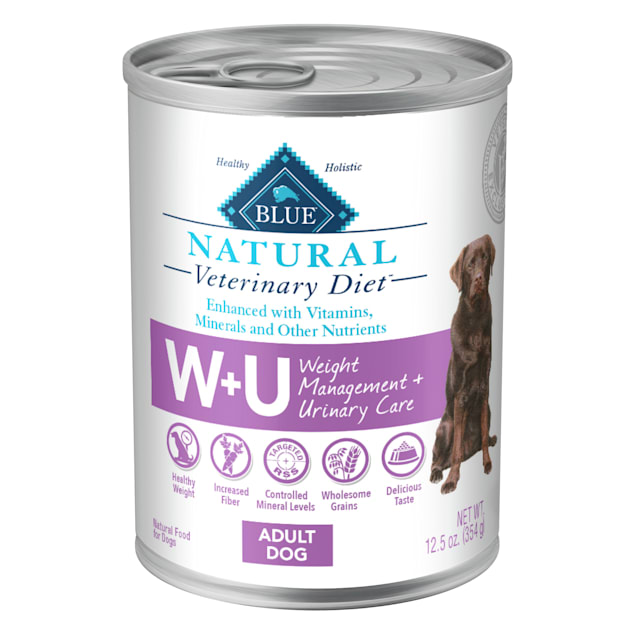 Blue Buffalo Natural Veterinary Diet W+U Weight Management + Urinary Care Canned Chicken Dog Food, 12.5 oz., Case of 12 - Carousel image #1