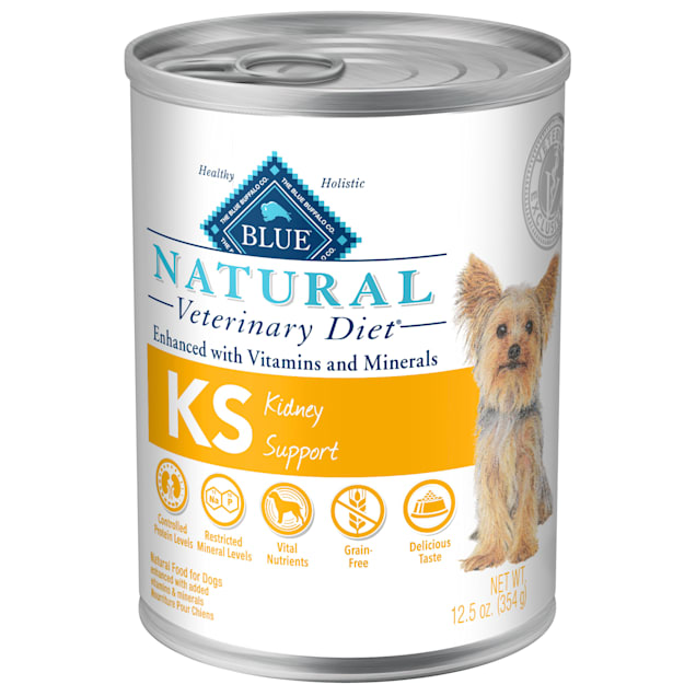 Blue Buffalo Natural Veterinary Diet KS Kidney Support Canned Chicken Dog Food, 12.5 oz., Case of 12 - Carousel image #1