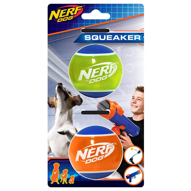 Nerf TPR Squeaky Tennis Ball Dog Toys, Small, Pack of 2 - Carousel image #1