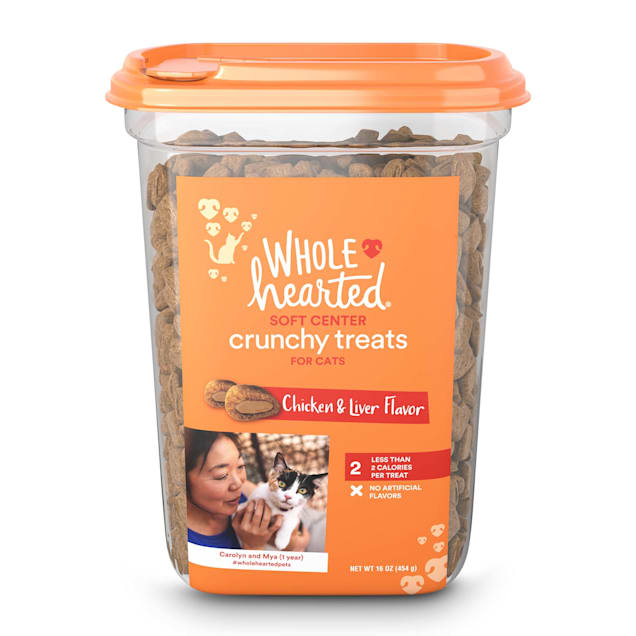 WholeHearted Soft Center Crunchy Chicken and Liver Flavor Treats for Cats, 16 oz. - Carousel image #1