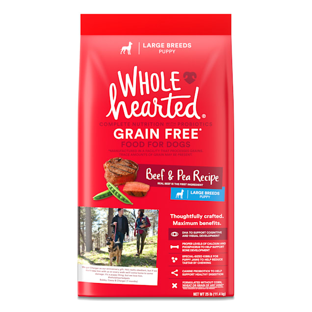 WholeHearted Large Breed Beef & Pea Recipe Dry Puppy Food, 25 lbs. - Carousel image #1