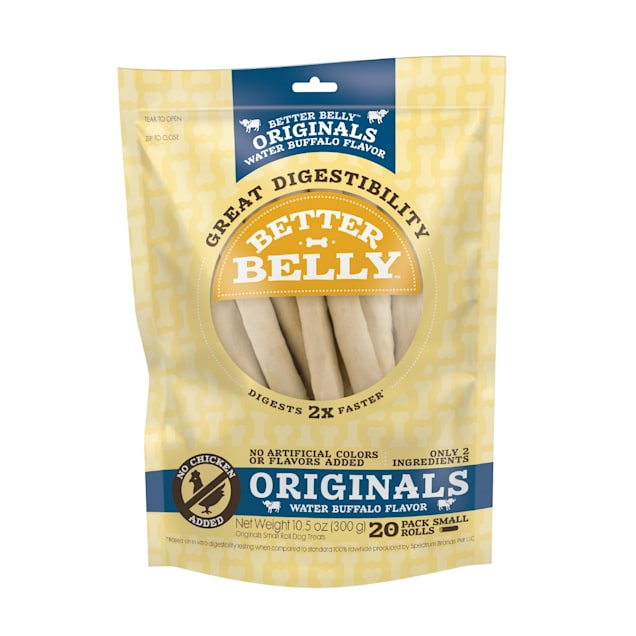 Better Belly Originals Water Buffalo Flavor Great Digestibility Rawhide Small Rolls Dog Treats, 10.5 oz., Count of 20 - Carousel image #1