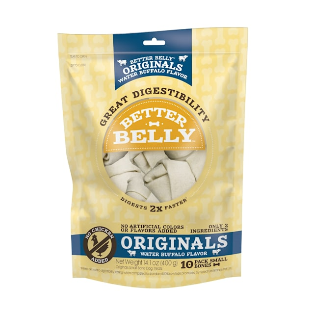 Better Belly Originals Water Buffalo Flavor Great Digestibility Rawhide Small Bones Dog Treats, 14.1 oz., Count of 10 - Carousel image #1