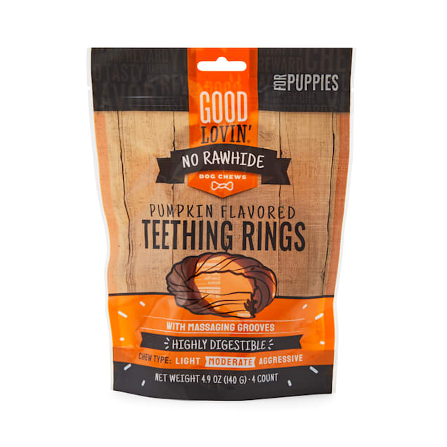 Good Lovin' No Rawhide Pumpkin Flavored Puppy Teething Rings, 4.9 oz., Count of 4 - Carousel image #1