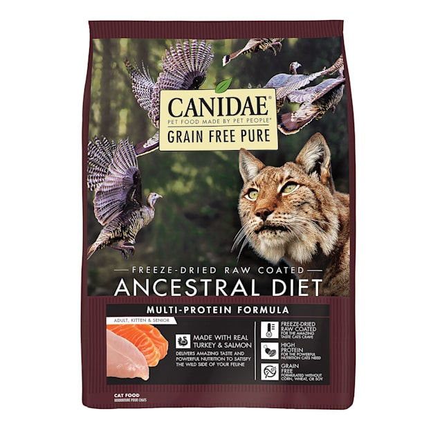 Canidae PURE Ancestral Grain Free Raw Coated Turkey and Salmon Dry Cat Food, 10 lbs. - Carousel image #1
