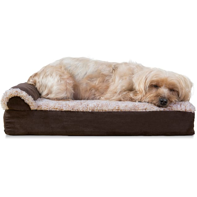 """FurHaven Two-Tone Faux Fur & Suede Deluxe Chaise Lounge Orthopedic Sofa Dog Bed Espresso, 20"""" L x 15"""" W - Carousel image #1"""