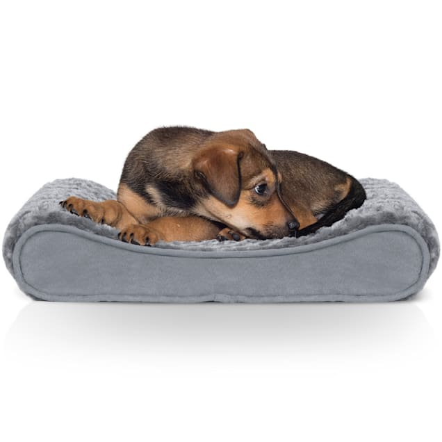 """FurHaven Ultra Plush Luxe Lounger Orthopedic Dog Bed Gray, 14"""" L x 21"""" W - Carousel image #1"""