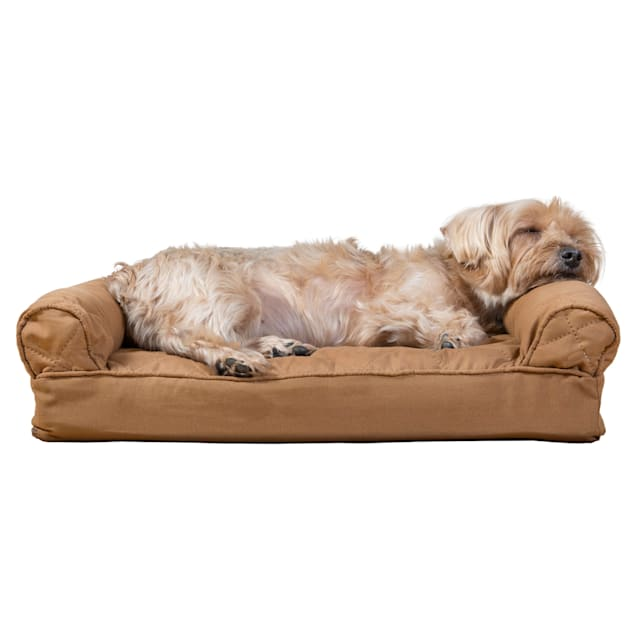 """FurHaven Quilted Pillow Sofa Dog Bed Warm Brown, 20"""" L x 15"""" W - Carousel image #1"""