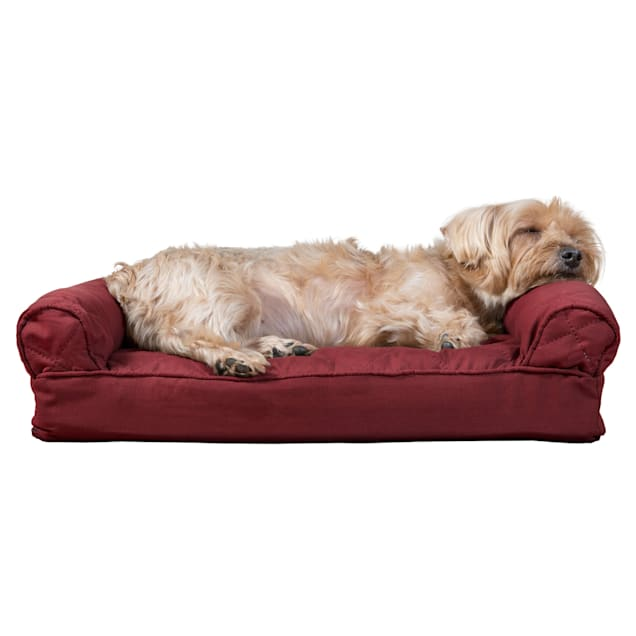 """FurHaven Quilted Pillow Sofa Dog Bed Wine Red, 20"""" L x 15"""" W - Carousel image #1"""