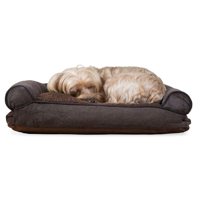 "FurHaven Faux Fleece & Chenille Soft Woven Pillow Sofa Dog Bed Coffee, 20"" L x 15"" W - Carousel image #1"