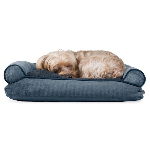 "FurHaven Faux Fleece & Chenille Soft Woven Pillow Sofa Dog Bed Orion Blue, 20"" L x 15"" W - Carousel image #1"