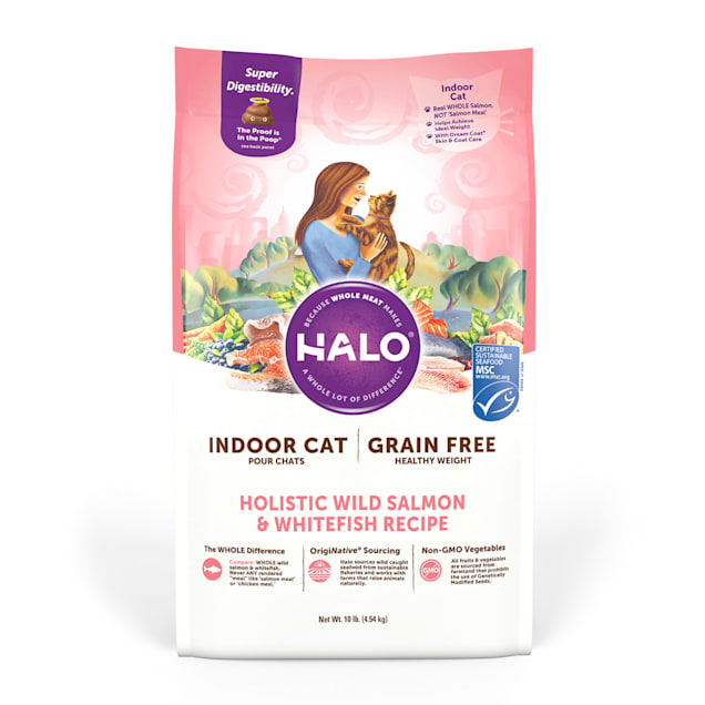 Halo Indoor Holistic Grain Free Healthy Weight Wild Salmon & Whitefish Dry Cat Food, 10 lbs. - Carousel image #1