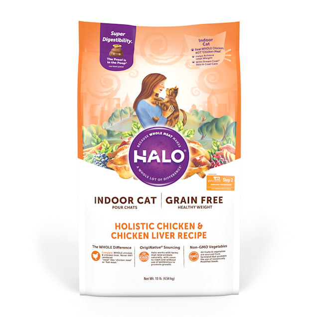 Halo Indoor Holistic Grain Free Healthy Weight Chicken & Chicken Liver Dry Cat Food, 10 lbs. - Carousel image #1