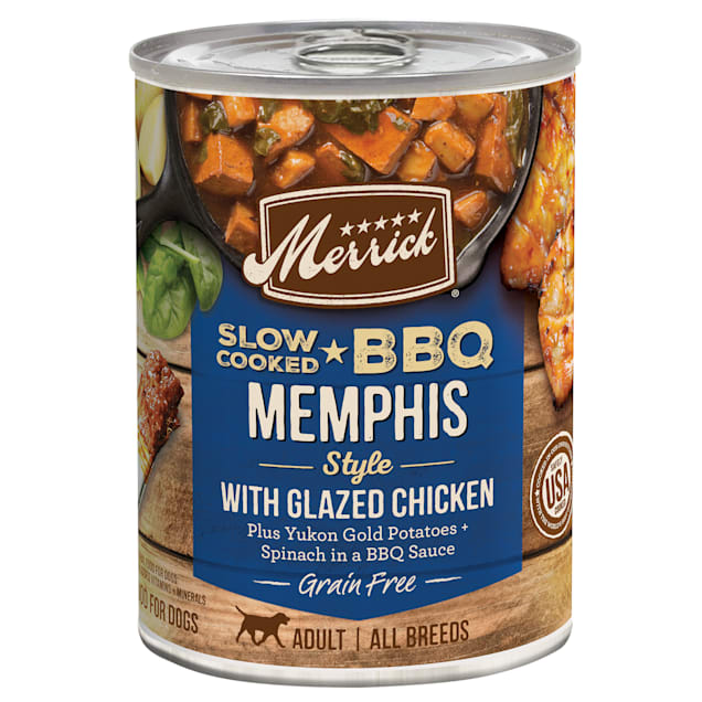Merrick Grain Free Slow-Cooked BBQ Memphis Style with Glazed Chicken Wet Dog Food, 12.7 oz., Case of 12 - Carousel image #1