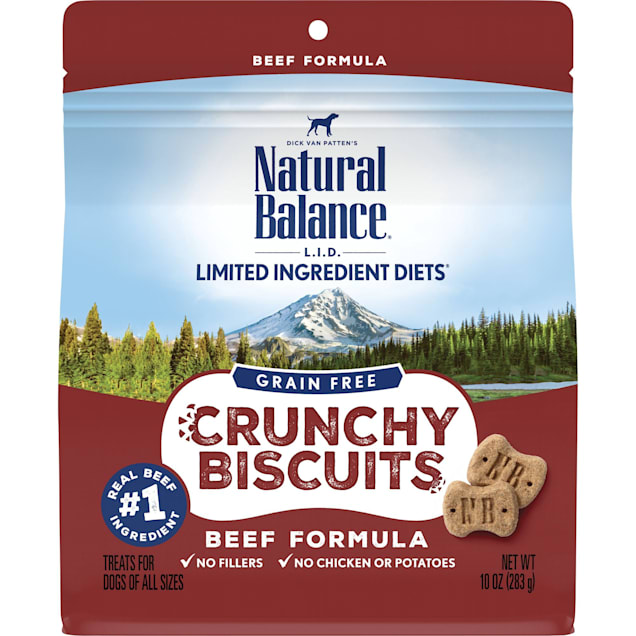 Natural Balance Limited Ingredient Diet Crunchy Biscuits Beef Dog Treat, 10 oz. - Carousel image #1