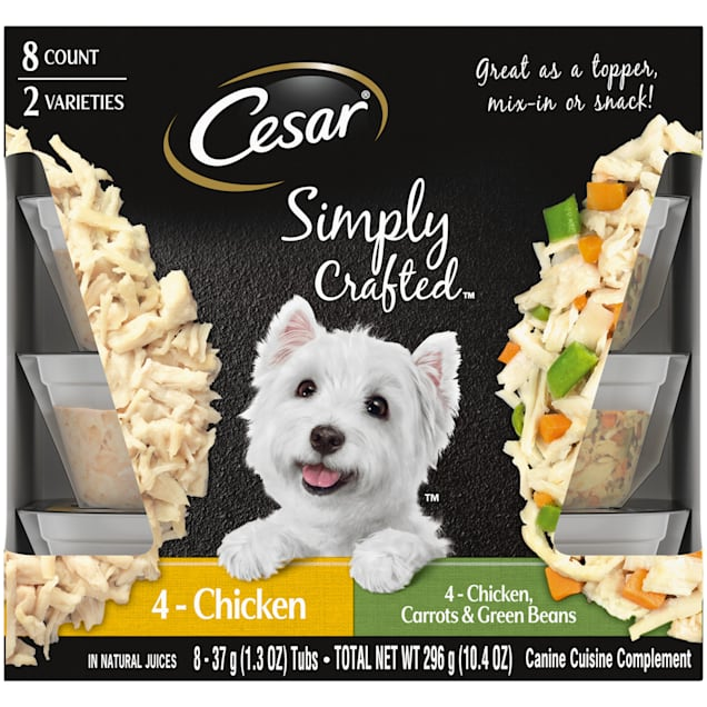 Cesar Simply Crafted Canine Cuisine Complement Chicken, Carrot & Green Bean Variety Pack Adult Wet Dog Food, 1.3 oz., Count of 8 - Carousel image #1