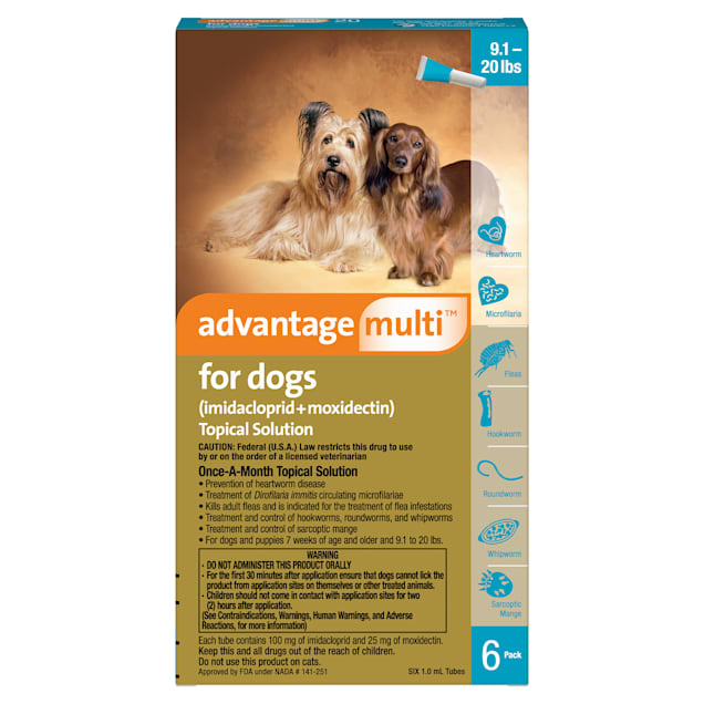 Advantage Multi Topical Solution for Dogs 9.1 to 20 lbs, 6 Month Supply - Carousel image #1