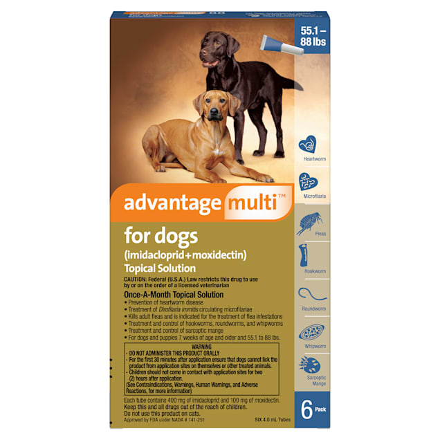 Advantage Multi Topical Solution for Dogs 20.1 to 55 lbs, 6 Month Supply - Carousel image #1