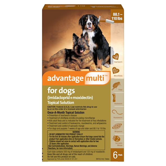 Advantage Multi Topical Solution for Dogs 88.1 to 110 lbs, 6 Month Supply - Carousel image #1