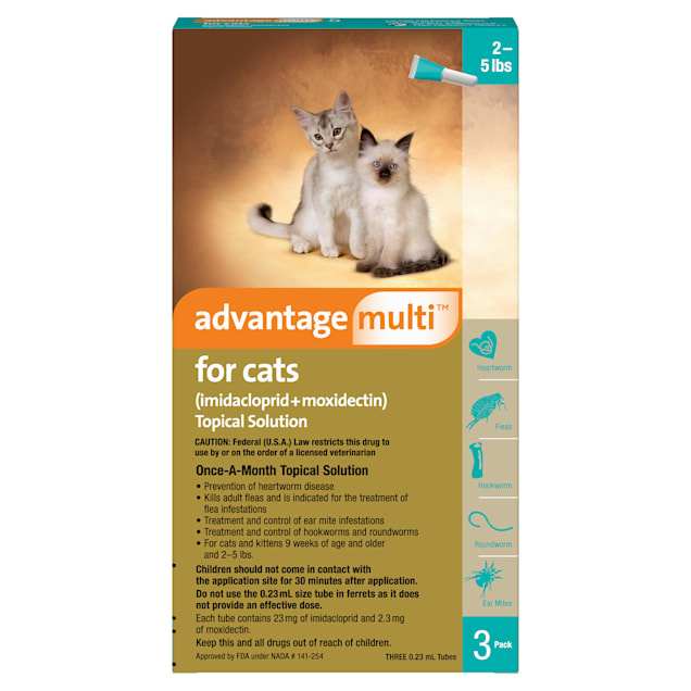 Advantage Multi Topical Solution for Cats 2 to 5 lbs, 3 Month Supply - Carousel image #1