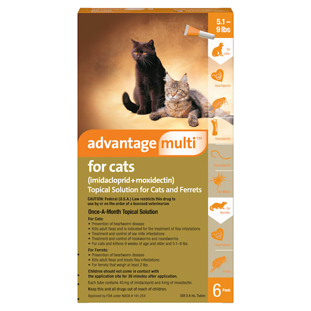 Advantage Multi Topical Solution for Cats 5.1 to 9 lbs, 6 Month Supply - Carousel image #1