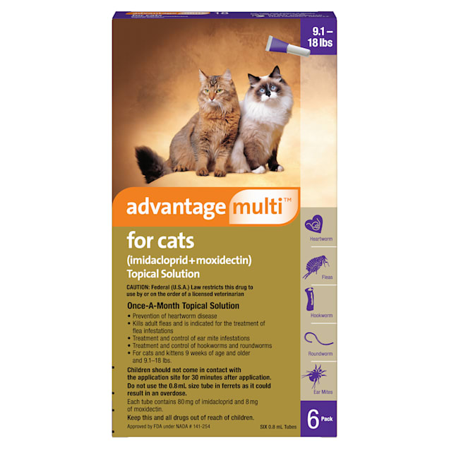 Advantage Multi Topical Solution for Cats 9.1 to 18 lbs, 6 Month Supply - Carousel image #1
