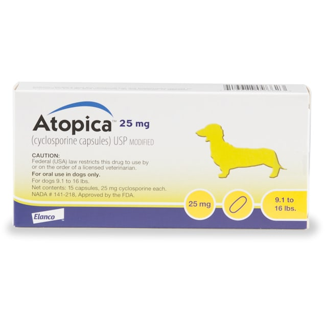 Atopica 25 mg for Dogs, 15 Capsules - Carousel image #1
