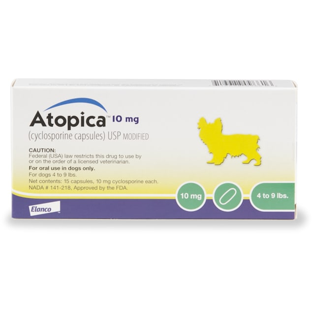 Atopica 10 mg for Dogs, 15 Capsules - Carousel image #1