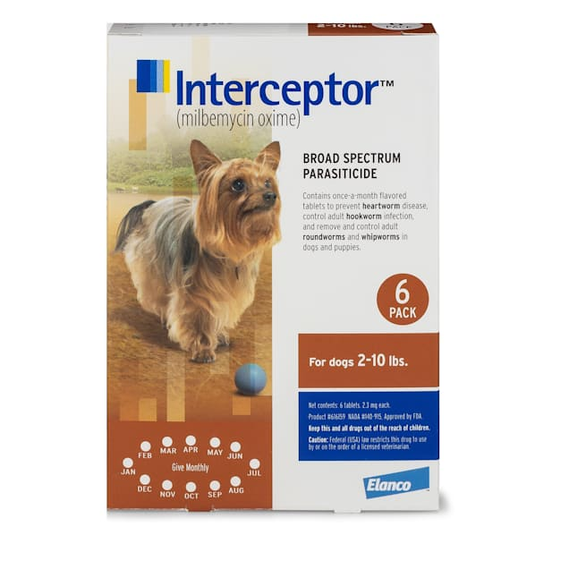 Interceptor Flavor Tabs for Dogs 2 to 10 lbs, 6 Month Supply - Carousel image #1