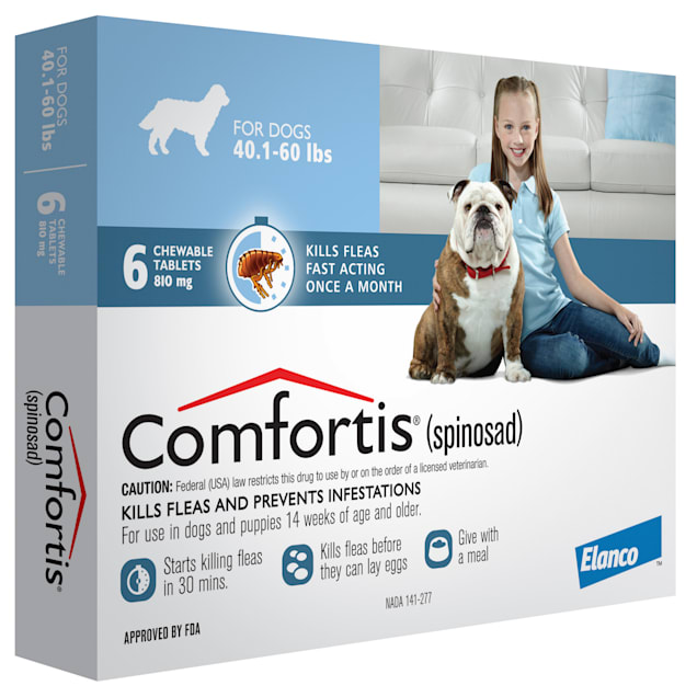 Comfortis Chewable Tablets for Dogs 40.1 to 60 lbs, 6 Month Supply - Carousel image #1