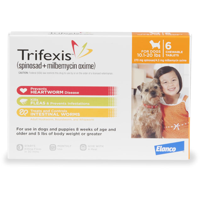 Trifexis Chewable Tablets for Dogs 10.1 to 20 lbs, 6 Month Supply - Carousel image #1