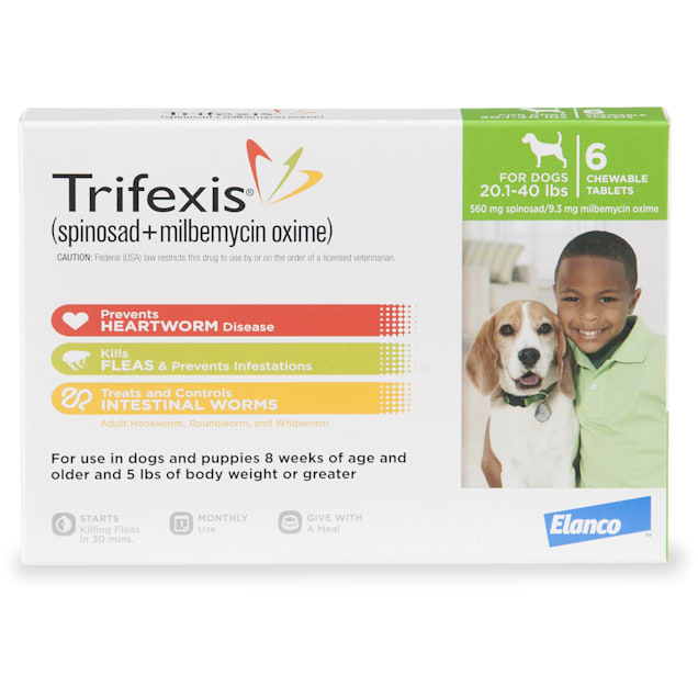 Trifexis Chewable Tablets for Dogs 20.1 to 40 lbs, 6 Month Supply - Carousel image #1