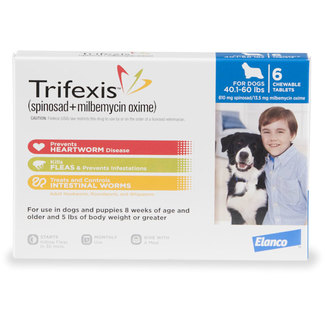 Trifexis Chewable Tablets for Dogs 40.1 to 60 lbs, 6 Month Supply - Carousel image #1