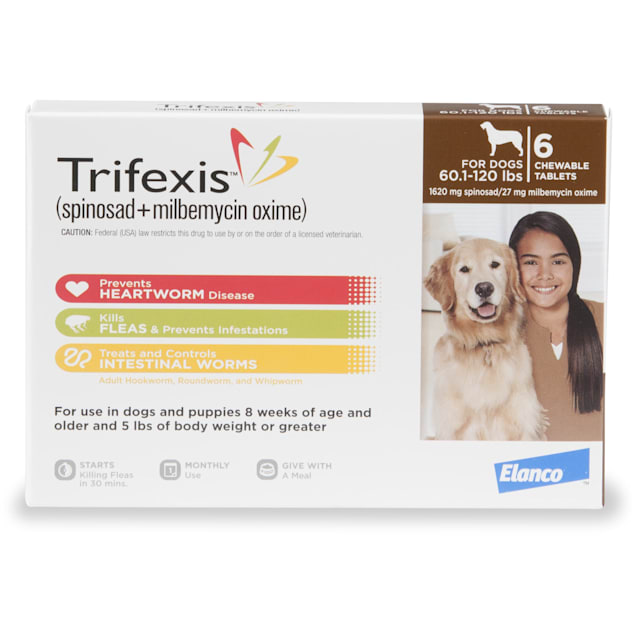 Trifexis Chewable Tablets for Dogs 60.1 to 120 lbs, 6 Month Supply - Carousel image #1