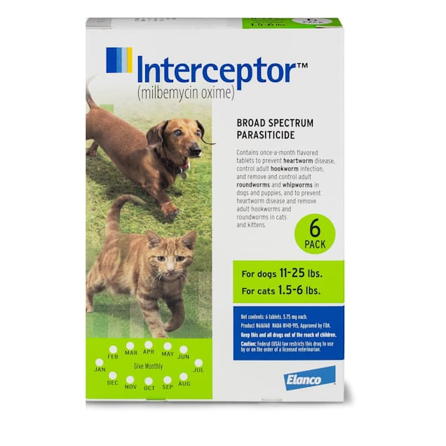 Interceptor Flavor Tabs for Dogs 11 to 25 lbs and Cats 1.5 to 6 lbs, 6 Month Supply - Carousel image #1