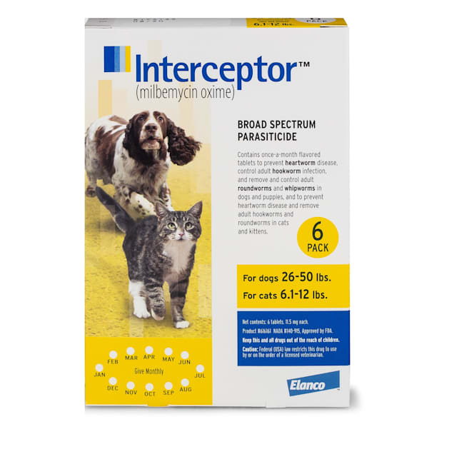 Interceptor Flavor Tabs for Dogs 26 to 50 lbs and Cats 6.1 to 12 lbs, 6 Month Supply - Carousel image #1