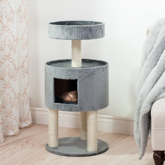 """PETMAKER Kitty Cat Condo Grey with Overhead Balcony, 17.5"""" L X 17.5"""" W X 35"""" H - Carousel image #1"""