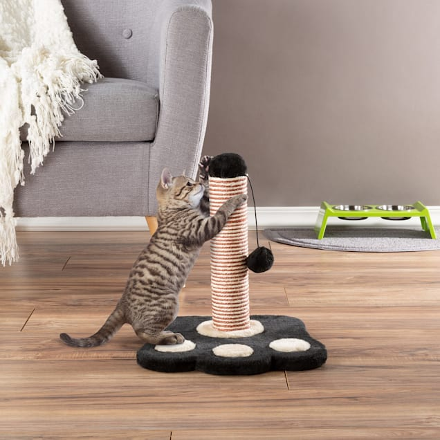 """PETMAKER Cat Scratching Post with Sisal Rope, Paw Shaped Base and Hanging Toy Ball, 13"""" L X 13"""" W X 15"""" H - Carousel image #1"""