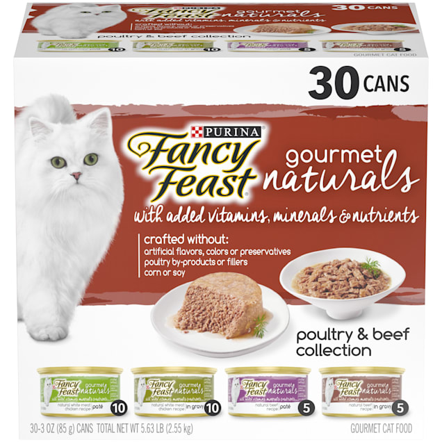 Fancy Feast Gourmet Naturals Poultry & Beef Collection Wet Cat Food Variety Pack, 3 oz., Count of 30 - Carousel image #1
