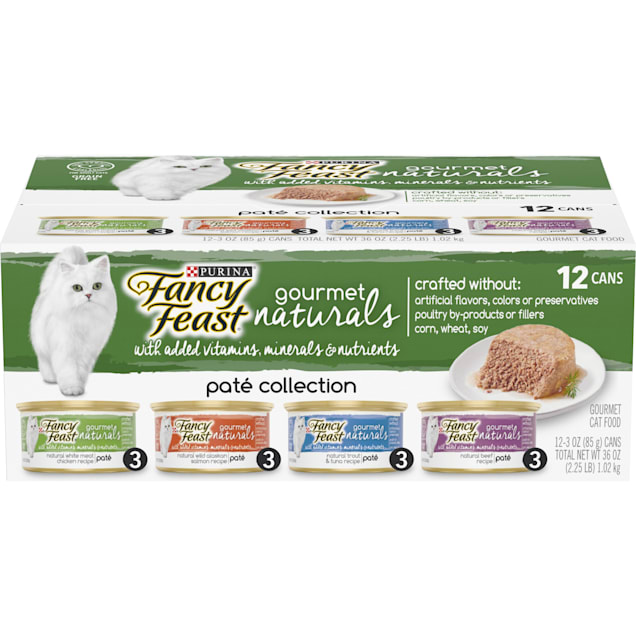 Purina Fancy Feast Grain Free Gourmet Naturals Pate Wet Cat Food Variety Pack, 3 oz., Count of 12 - Carousel image #1