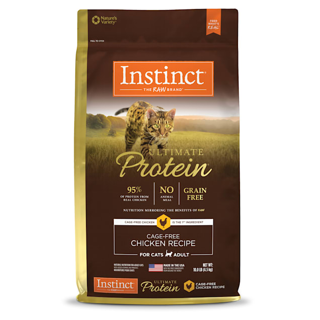 Instinct Ultimate Protein Grain-Free Cage-Free Chicken Recipe Freeze-Dried Raw Coated Dry Cat Food, 10 lbs. - Carousel image #1